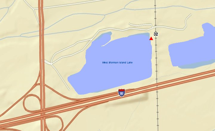 Lake is located at NE corner of I-80 west G. I. exit.   Sample collected from swimming beach area located at northeast corner of the lake.